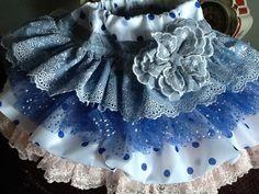 Easter Sunday Denim and lace blue and white ruffled por Babybonbons