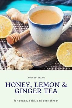 How to make a honey lemon and ginger tea recipe. Use this recipe for colds for cough and for sore throat. This easy natural remedy has the benefits of lemon ginger and honey. Use fresh ginger for best results in this DIY homemade tea drink. Ginger Tea For Cold, Ginger Lemon Honey Tea, Ginger Drink, Fresh Ginger, Uses For Ginger, Ginger For Cough, Honey Recipes, Tea Recipes, Healthy Recipes