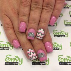 Elephant, Zigzag, Pink, White, Grey Nails - Envy Nail Spa