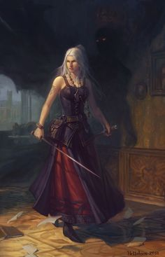 female fighter has a shadow more frightful than her wielded sword - people - demon - spirit - mythical creature - fantasy - past - medieval Fantasy Warrior, Fantasy Rpg, Medieval Fantasy, Fantasy Artwork, Dark Fantasy, Anime Warrior, Medieval Gothic, Fantasy Inspiration, Character Inspiration