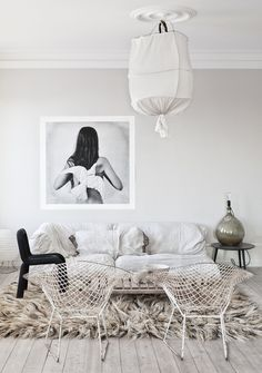 Black and white living room with photography. #Art #Dove #Bird #Decoration