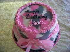 camo cakes for girls | Beautiful Pink Camouflage Birthday Cake