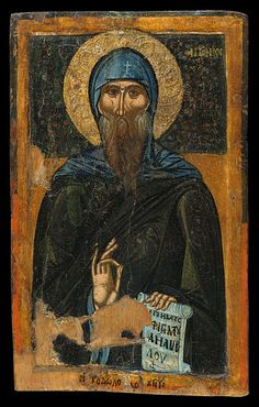 Saint Anthony, Macedonian icon from 1370-99