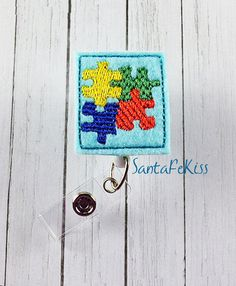 Autism Awareness Badge Holder with Retractable by SantaFeKiss