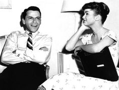 """Frank Sinatra and Debbie Reynolds on set of """"The Tender Trap"""" (1955)."""