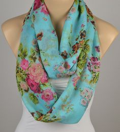 ON SALE  Infinity Scarf Aqua Scarf Floral Scarf by LIFEPARTNER, $19.40