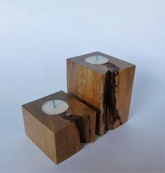 Pair of wooden tea light holders. They are from the same piece of wood but they are slightly different heights. Only finished with a coat of water based poly to bring out the texture. As with all wood some checking and cracking may occur which only adds more character. All Holes are Tea Light Candles, Tea Lights, Wood Tea Light Holder, Beautiful Candles, Tealight Candle Holders, Types Of Wood, Wood Boxes, Rustic Wood, Natural Wood