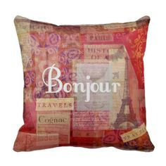 BONJOUR - Paris, France with Eiffel Tower  theme Pillow