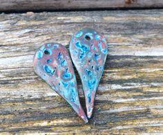 Organic Handmade Polymer Clay Teardrops Blue Red by ARETObeadsjewellery on Etsy