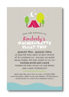 Bachelorette Weekend Itinerary Invitation Rustic Wedding
