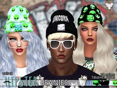 PZC Hipster Fantasy Beanies Pack by Pinkzombiecupcakes at TSR via Sims 4 Updates