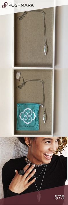 Kendra Scott Beatrice Necklace NWT Kendra Scott Beatrice Necklace in Iridescent White Banded Agate. An edgy alternative to the Kendra Scott Rayne. Still retails at full price. Beautiful in person. No trades. Kendra Scott Jewelry Necklaces