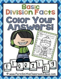 **50% Off for the First Two Days!** Winter Fun! Basic Division Facts - Color Your Answers Printables! FIVE printables and FIVE answer keys for basic multiplication facts with a FUN Winter Theme! These high interest black and white printables are great for seat work, homework or small group work. #TPT $paid