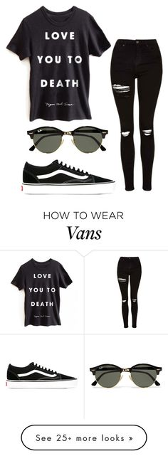 """""""Guess whos back? BLACK IS BACK!"""" by eemaj on Polyvore featuring Topshop, Vans and Ray-Ban"""