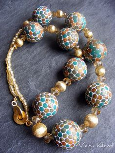 Tuscan Mosaic Bead Necklace by beadingvera - Schmuck Ideen Gestaltung, via Flickr