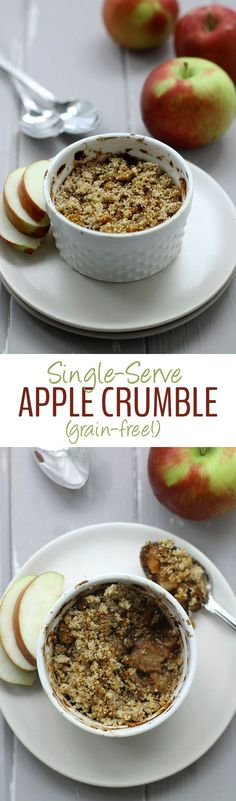 This Single-Serve Grain-Free Apple Crumble makes a delicious + grain-free dessert for one! No need to be tempted by a whole batch with this easy dessert recipe!