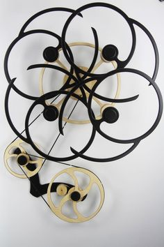 """Wooden Kinetic Sculpture-""""Whorled"""""""
