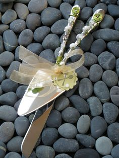 Beaded Wedding Knife and Cake Server Set