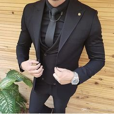 Black men fashion - Black Men Suits for Wedding Groom Wedding Tuxedos Groomsmen Suits Coat Pants Vest Wide Peaked Lapel Slim Terno Masculino Prom Party All Black Mens Suit, New Mens Suits, Tuxedo For Men, Mens Fashion Suits, Black On Black Suit, All Black Tuxedo, Black Tuxedo Wedding, Prom Suits For Men, Men's Suits