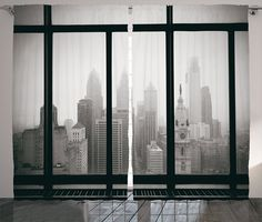 House Decor Curtains By Ambesonne, Philadelphia City Rooftop View Through Window Skyline Landmark Rooftop Travel, Living Room Bedroom Decor, 2 Panel Set, 108 W X 84 L Inches ** For more information, visit image link. (This is an affiliate link) #WindowTreatments