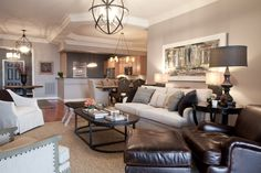 contemporary living room - like the colors and light fixtures