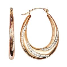 14k Gold-Bonded Sterling Silver Two Tone Twist Pear Hoop Earrings, Women's