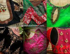 Latest maggam work pattu saree blouse designs by Mantra - the design studio. designer blouse for silk sarees, maggam blouse patterns 2019 White Saree Blouse, Pattu Saree Blouse Designs, Simple Blouse Designs, Blouse Neck Designs, South Indian Silk Saree, Blouse Designs Catalogue, Maggam Work Designs, Designer Blouse Patterns, India Fashion