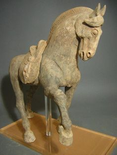 Excellent Tang Dynasty Pottery Prancing Horse