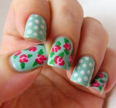 Xpin - vintage nails rose nail did art myDid My Nails: Vintage Rose Nail Art Rose Nail Design, Flower Nail Designs, Nail Designs Spring, Cool Nail Designs, Nails Design, Nails Rose, Rose Nail Art, Flower Nails, Rose Nails Tutorial