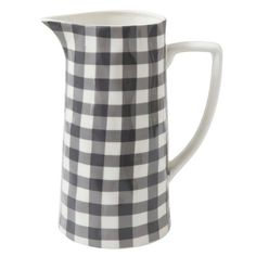 Glazed in a black-and-white gingham motif, the Studios Black and White Gingham Stoneware Pitcher brings farmhouse charm to the table. The stoneware. Greige Paint Colors, Driven By Decor, Ceramic Floor Tiles, Tile Floor, Thing 1, Creative Co Op, Ceramic Pitcher, E Design, Interior Design