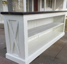 Build a Farmhouse Style (TV Console) Sideboard or 'short walk' ~ room divider. Diy Wood Projects, Furniture Projects, Furniture Plans, Wood Furniture, Home Projects, Furniture Stores, Furniture Online, Console Furniture, Furniture Cleaning