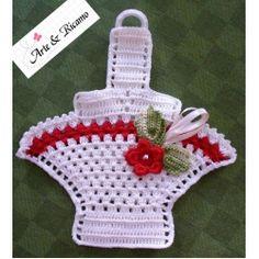 handmade red crochet potholders