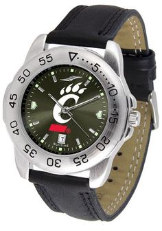 Cincinnati Bearcats Men Sport Watch With Leather Band & AnoChrome Dial
