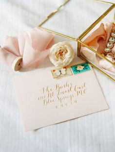 Peach and Gold Calligraphy Invitation   Carmen Santorelli Photography   A Modern Pastel Wedding Palette