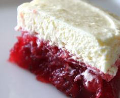 Claudean's Cherry Jello with cheery pie filling, crushed pineapple and vanilla pudding.