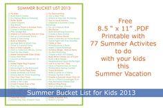 Summer Bucket List for Kids 2013 | Fancy Shanty | Stacy Molter