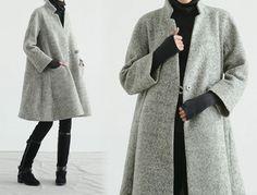 159-Women's Loop-Yarns Wool Trapeze Coat,A-line Bracelet Sleeves Winter Swing Coat, Wool Coat,Simplicity,Cape Coat, Poncho Coat. by EDOA on Etsy https://www.etsy.com/listing/188457839/159-womens-loop-yarns-wool-trapeze-coata