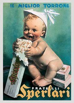 Vintage Italian Posters ~ #illustrator #Italian #posters #vintage #torrone #sperlari #advertising #italiandesign