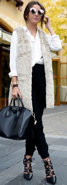 Faux Fur Vest Fall Streetstyle Inspo by Lovely Pepa