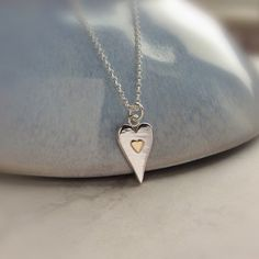 Valentines Jewelry : Silver heart necklace with gold lovely Valentines gift for her anniversary Valentines Gifts For Her, Valentines Jewelry, Sterling Silver Heart Necklace, Silver Necklaces, Silver Jewelry, Anniversary Gifts For Wife, Silver Rings Online, Trendy Necklaces, Friend Birthday Gifts