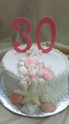 The Cakebox Bahamas:  Buttercream finished birthday cake with fondant shells.