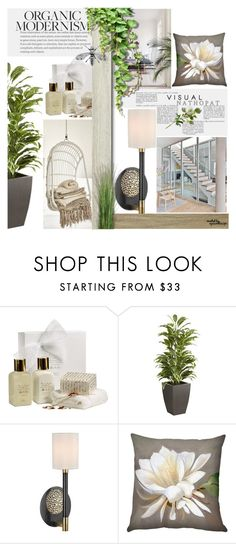"""""""Untitled #445"""" by mlka ❤ liked on Polyvore featuring interior, interiors, interior design, home, home decor, interior decorating, Pier 1 Imports, Hudson Valley Lighting and Pillow Decor"""