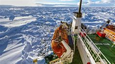 The MV Akademik Shokalskiy is seen trapped in thick Antarctic ice nautical miles south of Hobart, Australia. South Georgia Island, Hollow Earth, Arctic Circle, Natural Phenomena, Aerial View, Amazing Nature, Continents, Around The Worlds, Travel