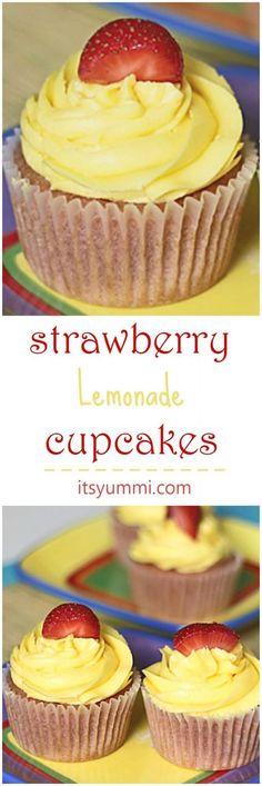 Strawberry Lemonade Cupcakes Recipe - The perfect summer dessert! Get the recipe from @ItsYummi