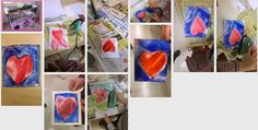 how to paint heart at encaustic wax with iron