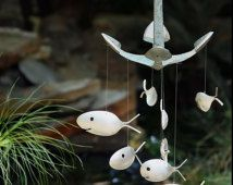 Aged Aquatic Anchor Windchime Silver Spoon Fish, Upcycled Silver Plated Flatware, Nautical anchor, Shipwrecked Pirate Anchor Chime, rustic