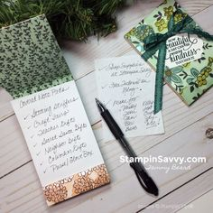 Want a quick & easy handmade gift idea for stocking stuffers, Secret Santa, coworkers, teachers or Craft Fairs?This DIY Notepad Holder is pretty & practical! Gifts For Coworkers, Gifts For Girls, Craft Gifts, Diy Gifts, Christmas Gift Quotes, Christmas Cards, Post It Note Holders, Easy Handmade Gifts, Stampin Pretty