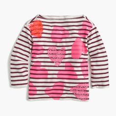 J.Crew - Girls' tossed hearts striped T-shirt