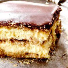 Prăjitura Ecler, fără coacere • Gustoase.net Sweets Recipes, Tiramisu, Biscuit, Deserts, Cookies, Ethnic Recipes, Food, Cream, Kuchen