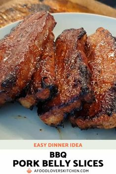 BBQ Pork Belly Slices are easy to make and they make a delicious meal, either on their own, or on top of a salad or rice. | Pork Belly Slices #porkbelly #dinner #pork Pork Belly Strips, Pork Belly Slices, Pork Belly Recipes, Rib Recipes, Dinner Recipes, Pork Ramen Recipe, Pork Belly Roast, Pork Shoulder Roast, Bbq Pork